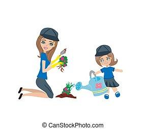 mamá, y, hija, planta, flores, en el jardín