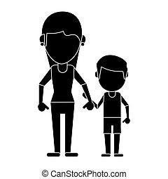 mamá, y, hijo, manos de valor en cartera, pictogram