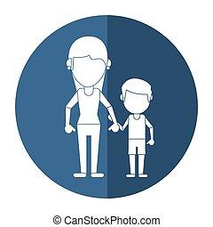 mamá, y, hijo, manos de valor en cartera, sombra