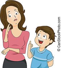 mamá, y, hijo, preguntas