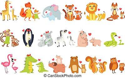 mamás, pequeño, animales, conjunto, su, ilustración