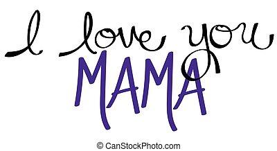mamãe, roxo, tu, amor