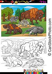 mamíferos, coloração, animais, caricatura, livro