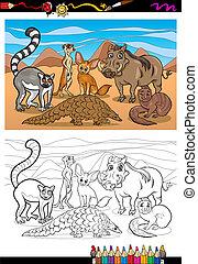 mamíferos, coloração, caricatura, livro, africano