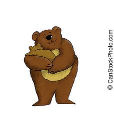 Mama Bear - Cartoon of a mother bear holding her baby