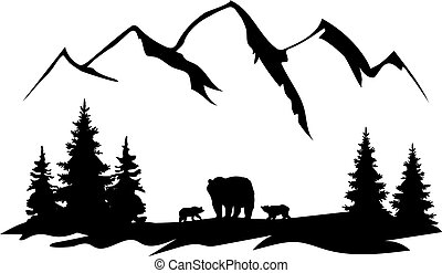 Mama Bear - vector mama bear with cubs, forest, mountains ...