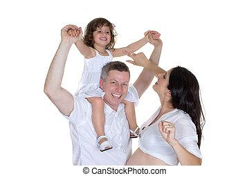 mama, glückliche familie, schwanger