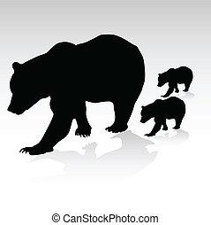 mama, niedźwiedź, z, ich, młody, wektor