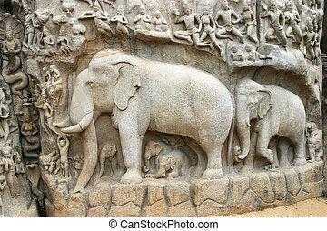 Mamallapuram Temple Tamil Nadu - Descent of the Ganga, a ...