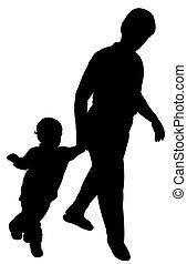 maman bébé, garçon, marche, silhouette