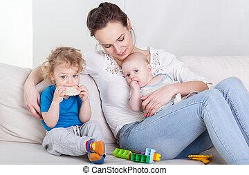 maman, bébé, preschooler