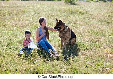 maman, berger, promenade, allemand, chien