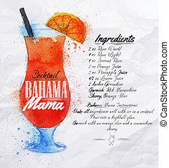maman, cocktails, bahama, aquarelle