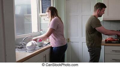 maman, déjeuner, préparer, papa