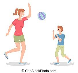 maman, extérieur, illustration, famille blanche, jeu, plat, plage, activity., volleyball., fils, ball.