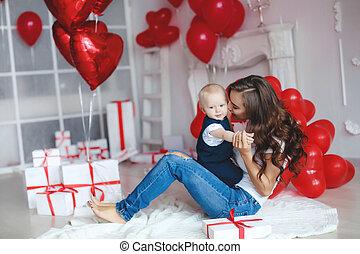 maman, famille, année, beau bébé, photo, garçon, 1