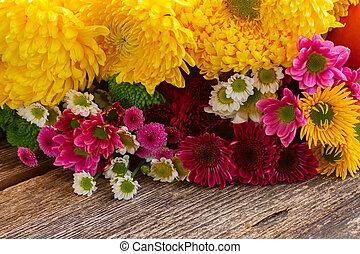 maman, fleurs, tas