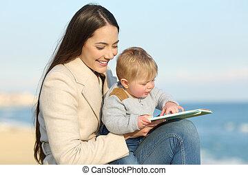 maman, livre, apprentissage, bébé, enseignement, lecture