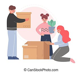 maman, nouveau papa, leur, replacer, boîtes, emballage, ...