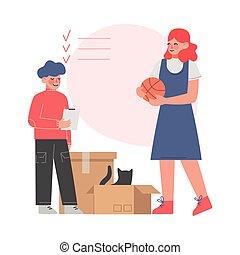 maman, nouveau, transport, fils, replacer, boîtes, emballage...