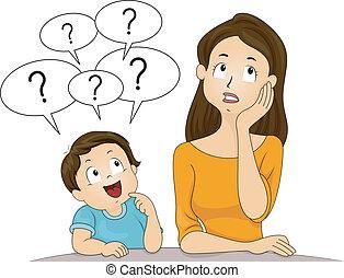 maman, questions, fils