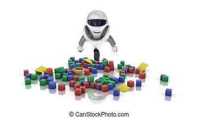 maman, robot, château, construction