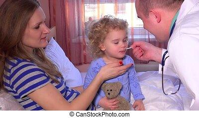 maman, séance, docteur, lit, bouche, prendre, enfant malade,...