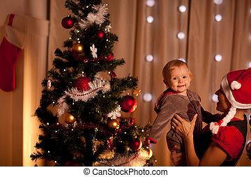 mamas, arbre, main, bébé, portrait, agréable, noël