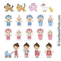 mamma, baby's, en, huisdieren, illustratie, set
