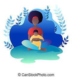 mamma, bambino, vettore, illustrazione, loto, seduta, position.