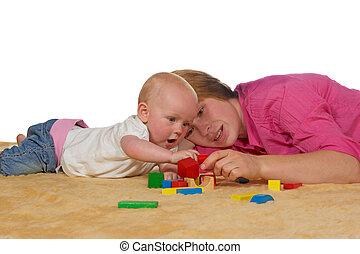 mamma, e, bambino, gioco, con, costruzione blocca