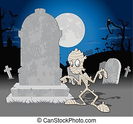 mamma, halloween, kyrkogård