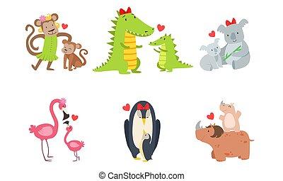 mamma, illustration., vettore, coppia, cartone animato, animali, baby.
