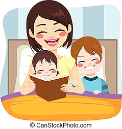 mamma, lettura, con, bambini