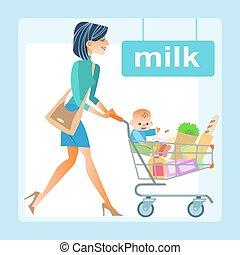 mamma, met, de, boodschappenwagentje, met, een, baby, in, de, winkel