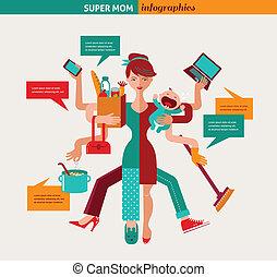mamma super, -, illustrazione, di, multitasking, madre