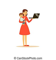 mamma, toppen, laptop, tecken, hållande barn