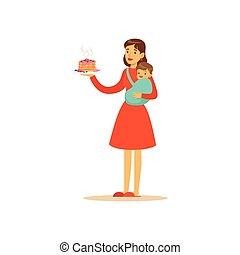 mamma, toppen, tecken, holdingen, tårta, barn
