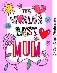 mamma, världar, bäst, kort