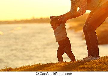 mamma, wandeling, portie, zeker, leren, baby, hem