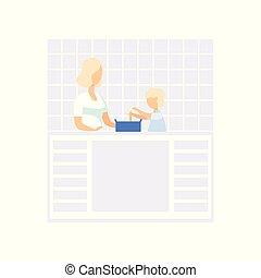 mamma, weinig; niet zo(veel), concept, levensstijl, gezin, haar, haar, het koken, keuken, jonge, illustratie, zoon, portie, vector, achtergrond, witte
