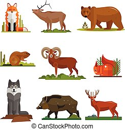 Mammal animals vector set in flat style design. Zoo cartoon icons collection.