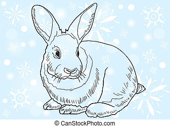 Monochrome image of a rabbit against blue background with snowflakes