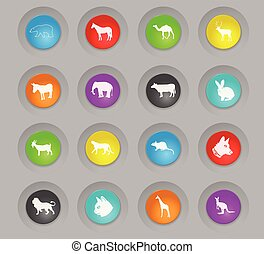 mammals colored plastic round buttons icon set
