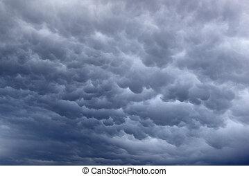 Mammatus cloud formation - Mammatus Cloud formation in a...