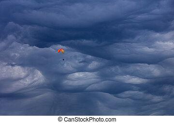 Mammatus cloud above the city of Chamonix. Mont Blanc,...