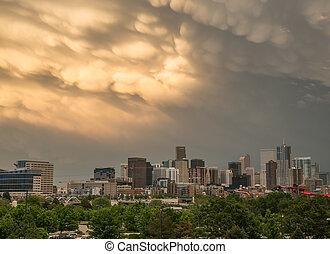 Mammatus Clouds Over Denver