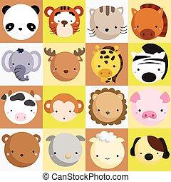 mammifère, vecteur, ensemble, icône