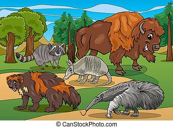 mammiferi, animali, cartone animato, illustrazione