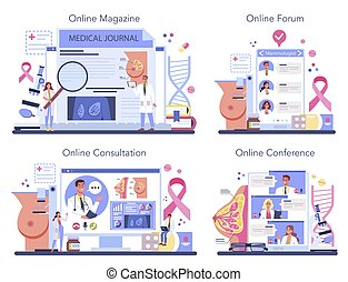 Mammologist online service or platform set. Breast screening and mammography, diagnostic of oncology. Online magazine, consultation, forum, conference. Vector flat illustration